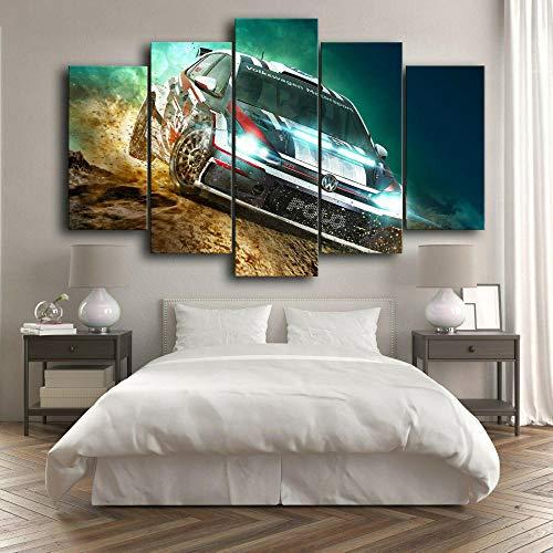 IMXBTQA Cuadro En Lienzo,Imagen Impresión,Pintura Decoración,Canvas De 5 Pieza,175X80Cm,Póster Volkswag Polo Dirt Rally Car Mural Moderno Decor Hogareña con Marco
