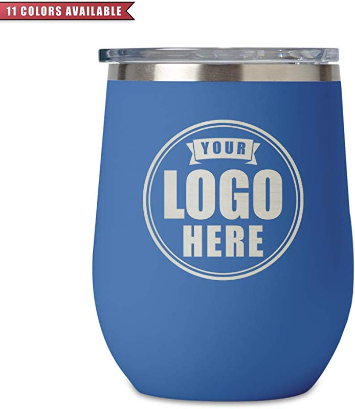 Personalized Stemless Wine Tumbler 12oz Stainless Insulated W Lid Custom Engraved Corporate Logo Design 11 Colors