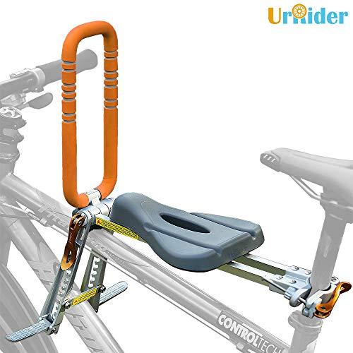 UrRider Kinderfahrradsitz, Vorneliegender Fahrradsitz für Kinder, Faltbarer und ultraleichter Baby-Kinderfahrradträger-Handlauf für Mountainbikes, Hybridbikes und Fitnessbikes