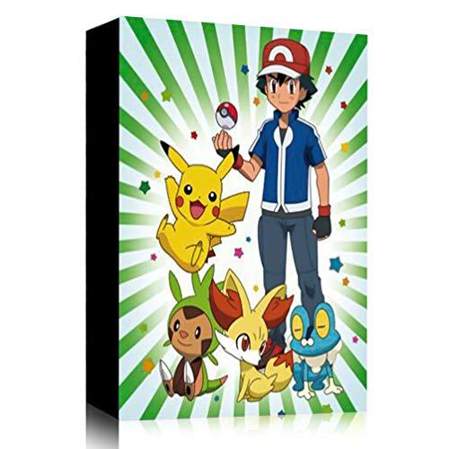 Funmo Pokémon Carte Album, Pokémon Cartes Album pour Cartes Pokemon GX EX, Classeur Carte Pokemon Album, Peut accueillir 120 Cartes à Unique ou 240 Cartes à Double (Ash Ketchum) (Vert)