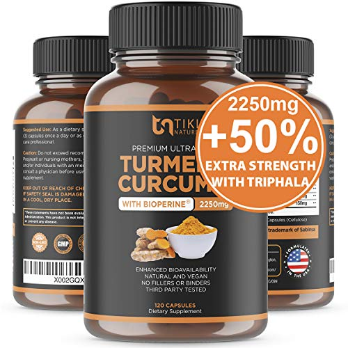 Organic Turmeric Curcumin with BioPerine, Ginger & Triphala 2250mg, 95% Curcuminoids. Maximum Potency, Joint Pain Relief, Healthy-Aging, Non-GMO, Gluten Free, Anti Inflammatory Supplement 120 Caps