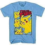 Pokemon Boys Pikachu Game Shirt - Gotta Catch Em All - Official T-Shirt (Carolina Blue, Large)