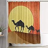 VINISATH Cortinas de Ducha,Camello y pirámide en el Desierto Papercraft Reciclado,Cortina de baño Decorativa para baño,bañera 180 x 180 cm