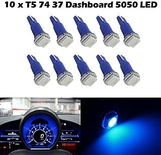 Partsam 10xT5 Wedge 1-5050-SMD Ice Blue 37 70 73 74 Speedometer Odometer Tachometer Instrument Panel Gauge LED Light
