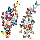 Heansun 80 PCS Butterfly Wall Decals, 3D Butterflies Removable Mural Stickers Wall Stickers Decor for Room Home Nursery Decor