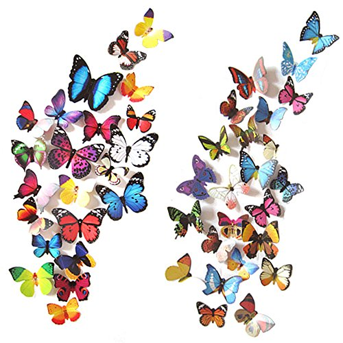 Heansun 80 PCS Wall Decal Butterfly Wall Sticker Decals for Room Home Nursery Decor