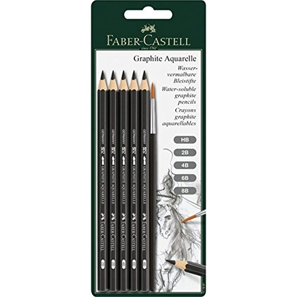 Faber-Castell Graphite Aquarelle Water-soluble Pencils assorted set of 5 with brush,Grey