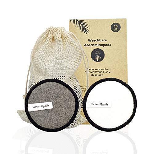 Fischers Quality Abschminkpads waschbar | Wiederverwendbare Wattepads 20 Stück | Bio Baumwollpads aus Bambus und Bambuskohle | Nachhaltig | ECO Pads | Inklusive Wäschesack