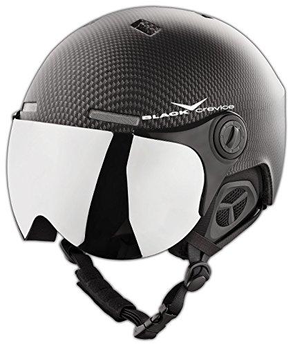 BLACK CREVICE Erwachsenen Skihelm im Pilotenstyle mit zusätzlichem orangem Wechselvisier, Black Carbon/White
