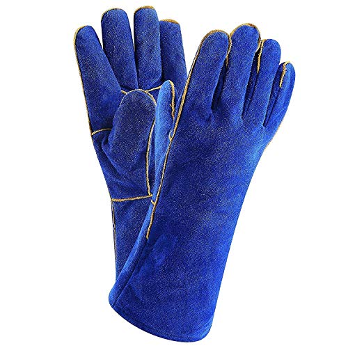 Product Image of the DEKO Welding Gloves Blue 14 inch Leather Forge Heat Resistant Welding Glove for Mig, Tig Welder, BBQ, Furnace, Camping, Stove, Fireplace and More