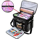 """Teamoy Knitting Bag, Yarn Tote Organizer with Cover and Inner Divider (Sewn to Bottom) for Crochet Hooks, Knitting Needles(up to 14""""), Project and Supplies, Black(No Accessories Included)"""