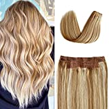 Halo Human Hair Extensions Golden Brown to Golden Blonde to Platinum Blonde Highlights Remy Wire Hair Extensions Flip on Straight Invisible Hidden Hair Extensions with Fish Line Hairpiece 80g 16Inch