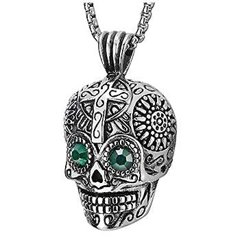 COOLSTEELANDBEYOND Mens Women Steel Vintage Sugar Skull Pendant Necklace Green Cubic Zirconia Eyes 30 in Wheat Chain