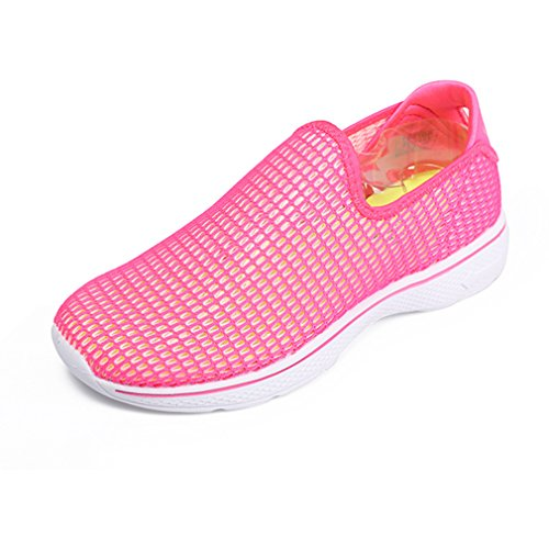 emansmoer Femmes Été Outdoor Hollow Out Respirant Plage Surf Chaussures Eau Chaussures Sports Casual Slip on Sandals (Taille 36, Rose Rouge)