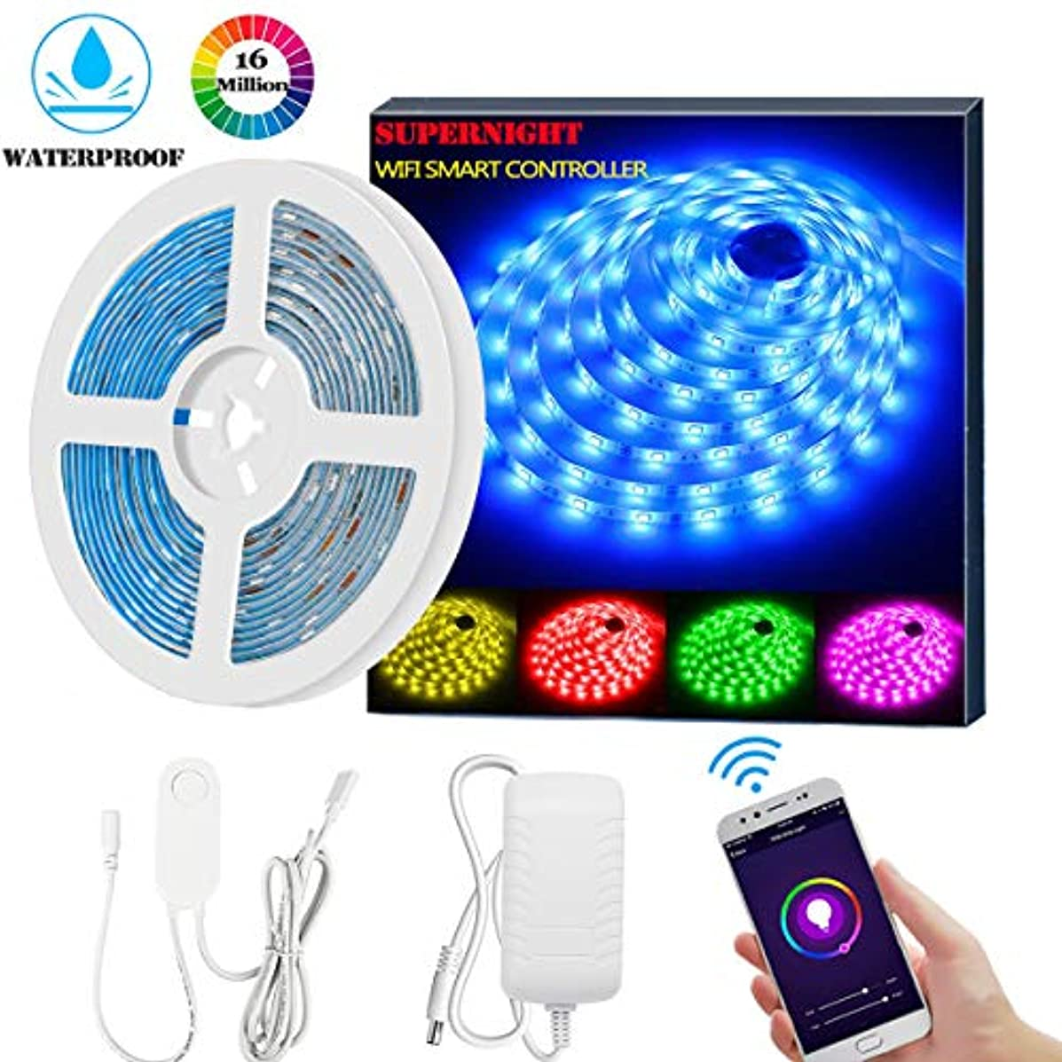 SUPERNIGHT Smart LED Strip Lights, WiFi Wireless Smart Phone Controlled LED Light Strips Kit 16.4ft Waterproof 5050 RGB Tape Lights, Support Alexa Google Assistant Voice Control, UL Power Supply?