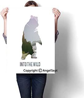 Multicolor Modern Canvas Painting Wall Art,Wild Animals of Canada Survival in The Wild Theme Hunting Camping Trip Outdoors (20