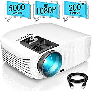 "ELEPHAS PRO610 Projector, with 200"" 720P LCD Video Projector Support HDMI VGA AV USB Micro SD Ideal for Home Theater Enter..."