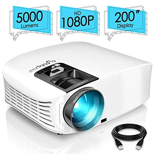 """ELEPHAS PRO610 Projector, [2018 Version] with 200"""" 720P LCD Video Projector Support HDMI VGA AV USB Micro SD Ideal for Home Theater Entertainment Party and Games, White"""