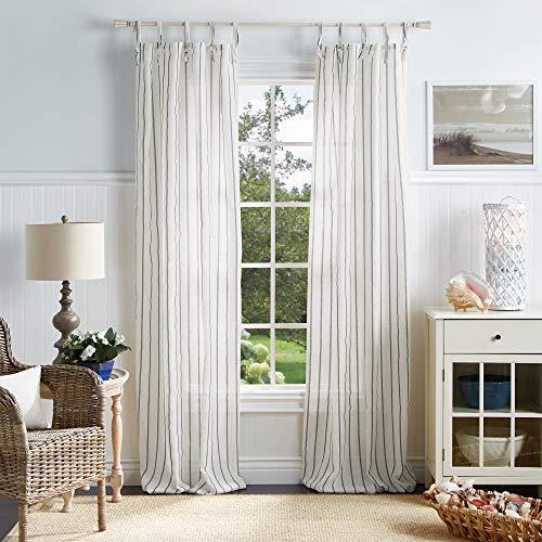 "MARTHA STEWART Laguna Stripe Semi-Sheer Tie Tab Window Curtain Panel Pair, 84"", Grey"