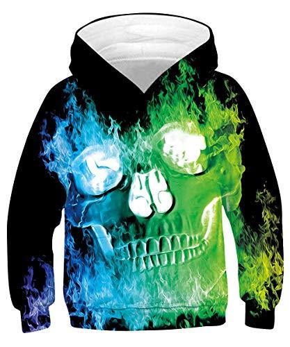 Rave on Friday Jungen Teen Schädel Pullover Hässliche Hoodie 3D Drucken Kapuzenpullover Ugly Skull Pullover 165 Coole Galaxy Sweatshirt Langarm Unisex XL