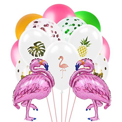 WERNNSAI Decoraciones de Fiesta Flamenco Hawaiano Tropical - Globos de Aluminio para Flamencos Hojas de Palmerapara Cumpleaños Baby Shower Wedding Party Supplies,47PCS