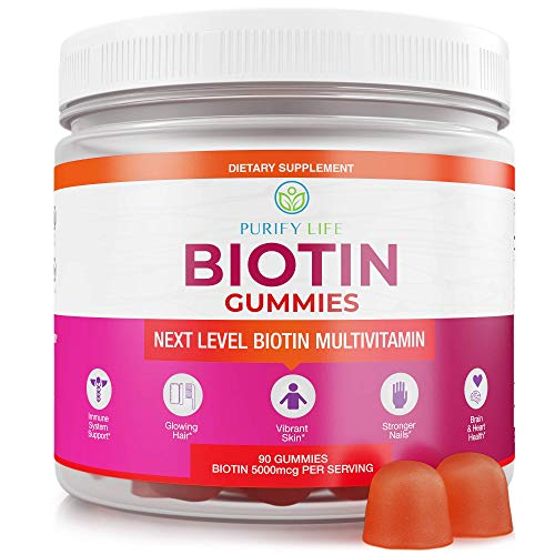 Anti Aging Biotin Gummies for Hair Growth, Glowing Skin, and Stronger Nails |90ct| Pectin-Based Multivitamin Supplement for Men and Women with Vitamin A, B6, B12, C, D6, E, Zinc - 5000 Mcg