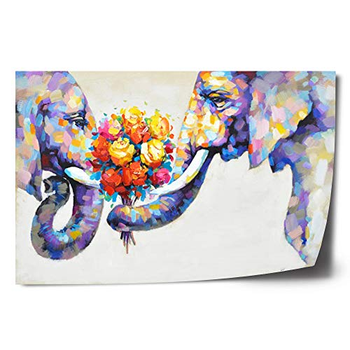 Crescent Art Abstract Elephant Flower Large Canvas Wall Art Animal Oil Painting on Canvas Print Wall Art Picture Home Wall Decor for Livingroom (36 x 24 inch, Unframed)