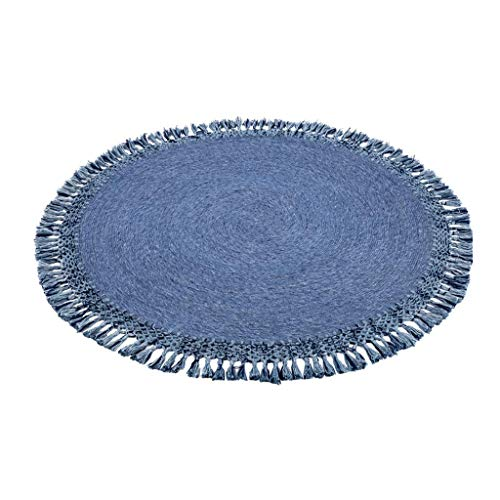 ZYYJ A Menudo versátil superes Estera Absorbente Estera de Yoga Suave círculo de Picnic Cubierta de Agua en Gran Toalla de Microfibra Alfombra Redonda con Pompones (Azul),120 x 120 cm