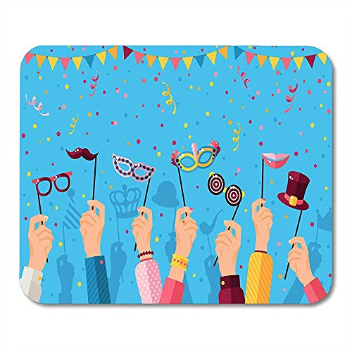 Mousepad Blauer Purim-Karneval Mit Den Händen, Die Karneval-Masken-Maskerade-Konzept-Stand-Party Mit Konfetti Halten Bürozubehör 25X30Cm Notizbuch-Tischrechner-Mausunterlage