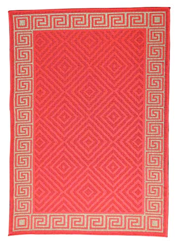 Furnish my Place Contemporary Geometric Rug, Indoor and Outdoor Area Rug, Easy to Clean, UV Protected and Fade Resistant, 1113, Sunset Orange