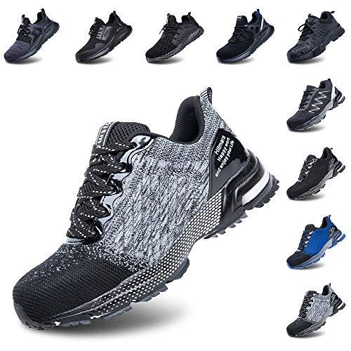 Zapatos de Seguridad Hombre Trabajo Comodos Mujer con Punta de Acero Ligeros Calzado de Industrial y Deportivos Transpirable Gris 42 EU