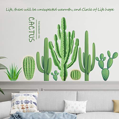 Pflanzen Grün Wandaufkleber Kaktus, TANOSAN Kaktus Pflanzen Wandsticker Wandaufkleber Wandtattoo, Entfernbarer Wandaufkleber Wanddekoration für Wohnzimmer Schlafzimmer Fenster (Grün)
