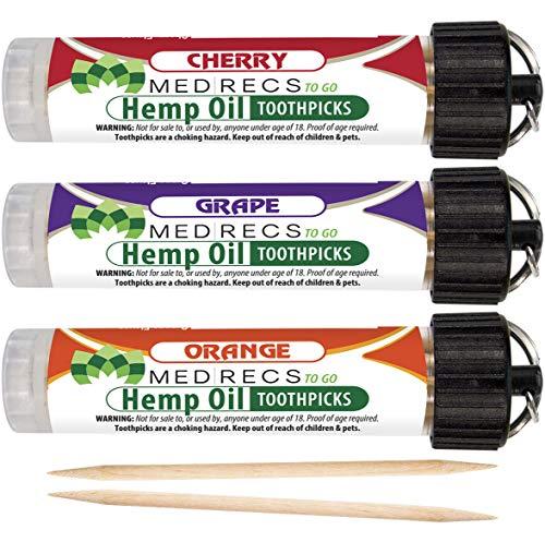 MedRecs To Go Hemp Oil Infused Toothpicks 3 Pack Set (Cherry-Grape-Orange 3 Pk)