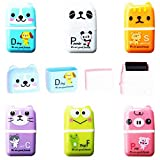 Kiwochy Pencil Erasers Cute Animal Pencil Erasers Roller Erasers with Shaving Roller Case Animal Themed Cute and Fun Party Favor and School Supplies for School Home and Office Christmas Stocking Gift