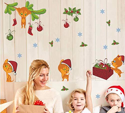 De Noël Chat Sticker Mural Cloche Flocon De Neige Nouvel An De Noël Décoration Cadeau Sticker Art Mural Boutique Magasin Fenêtre Décor