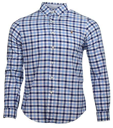 Ralph Lauren Herren Slim Fit Hemd (Blau kariert, XXL)