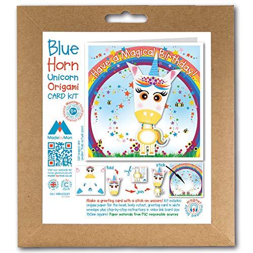 Kit de tarjetas de felicitación de origami, con diseño de unicornio amarillo, arcoíris y estrellas, para un cumpleaños mágico Cuadrado de 150 mm