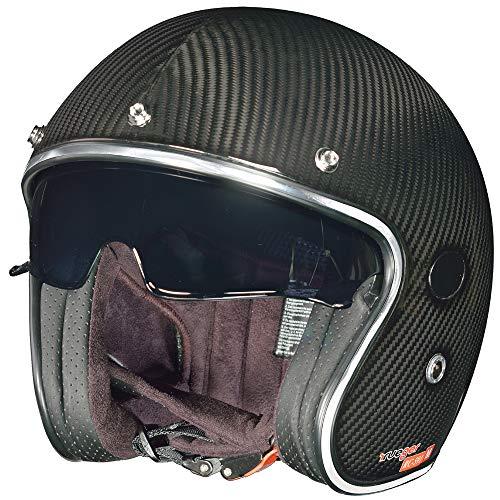 rueger-helmets RC-591 Carbon Jethelm Motorradhelm Chopper Café Racer Sonnenvisier Bobber, Größe:M (57-58), Farbe:Carbon