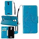 pinlu Funda para ASUS ZenFone 3 MAX (5.2 Pulgada) ZC520TL Función de Plegado Flip Wallet Case Cover Carcasa Piel PU Billetera Soporte con Ranuras Mariposa Flores Azul