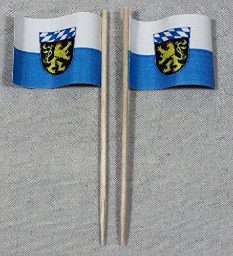 Buddel-Bini Party-Picker Flagge Oberbayern Papierfähnchen in Spitzenqualität 50 Stück Beutel