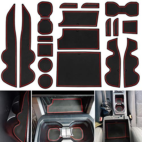 LAIKOU 19PCs Set Custom Fit Cup Holder, Door Pocket, Center Console Liner Mats Interior Accessories Inserts for 2016-2021 Toyota Tacoma Double Cab (Red Trim)