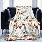 Manta de Felpa Suave Cama Flores de Gerber de Tulipanes de Acuarela Manta Gruesa y Esponjosa Microfibra, Suave, Caliente, Transpirable para Hogar Sofá , Oficina, Viaje
