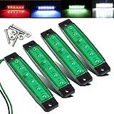 Electrely 4 Pezzi Luci di posizione laterali indicatori laterali per rimorchio, 12V 6 LED, universali per rimorchio, camion, caravan, camper, trattore, bus (verde)