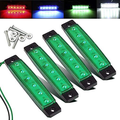 Electrely LED-Indikator Seitenmarkierungsleuchten vorne hintere Seite Lampe Position12V für Anhänger,LKW,Wohnwage,Wohnmobile,Van,LKW,Bus, Boot,Traktor (Grün)