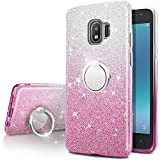 Galaxy J2 Pro 2018 Case, Galaxy Grand Prime Pro Case,Silverback Girls Bling Glitter Sparkle Cute Phone Case with 360 Ring Stand, Soft TPU Cover + Hard PC Skin for Samsung Galaxy J2 Pro -Pink