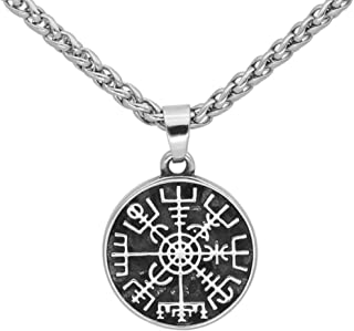 GuoShuang Stainless Steel Nordic Viking Rune Compass Amulet Pendant Necklace Small Size with Valknut Gift Bag