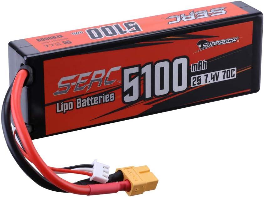 SUNPADOW 7,4V 2S Batería Lipo 70C 5100mAh Estuche Duro con XT60 para RC Afición a Buggy Vehículos Coche Camión Tanque Barco Carreras