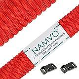 Namvo 550 Paracord Mil Spec Tipo III Cable de paracaídas de 7 Cuerdas Longitud 100 pies / 30 Metros -Orange Crimson Camo