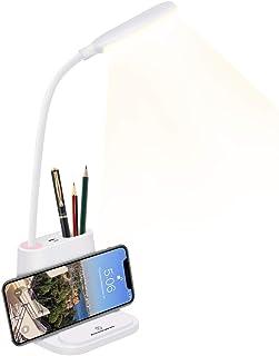 HDCOOL Desk Lamp, LED Study Lamp, 2 Color Modes & Stepless Dimming, 360° Flexible Metal Hose, Eye-Caring Table Lamp, Phone...