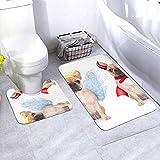 N/B Cute Devil with Angel Dog Bad Alfombrilla antideslizante para el suelo del cuarto de baño Alfombrilla antideslizante almohadilla para decoración interior Set 2 piezas adaptadas